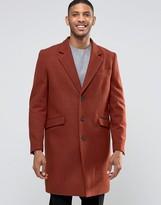 Asos Wool Mix Overcoat In Rust
