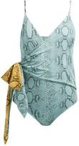 Stella McCartney Timeless Snake-print Wrap Swimsuit - Womens - Blue Multi