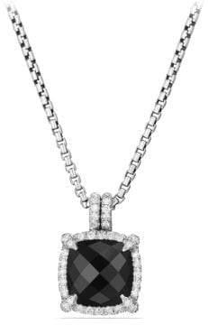 David Yurman Châtelaine Pave Bezel Pendant Necklace With Black Onyx