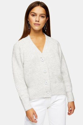 Topshop PETITE Grey Marl Pointelle Knitted Cardigan