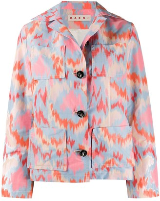 Marni abstract print single-breasted jacket