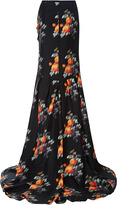 Peter Som Small Rose Silk Twill Long Skirt