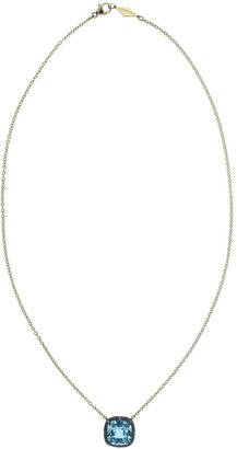 Fred Leighton 18kt yellow gold Collet cushion blue topaz pendant necklace