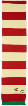 Gucci Off-White and Red Interlocking G Cotton Scarf