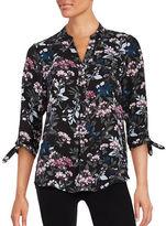 Ivanka Trump Floral Button-Front Blouse