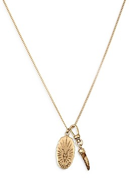 AllSaints Saint and Horn Pendant Necklace, 18