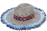 Etro fringed woven hat - women - Silk/Feather/Paper - 56