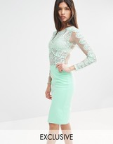 Club L Crochet Lace Bodycon Midi Dress