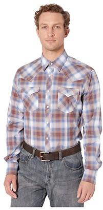 Wrangler Retro Premium Long Sleeve Plaid Snap (Blue/Burgundy) Men's Clothing