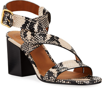 Chloé Candice Snake-Print Twisted Ankle-Wrap Sandals