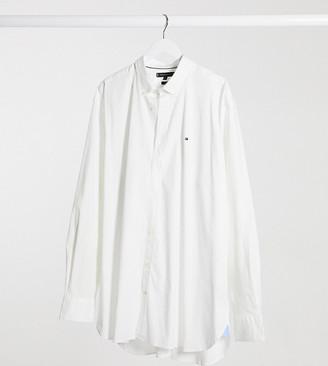 Tommy Hilfiger Big & Tall flag logo stretch poplin shirt in white