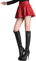 LOVEBEAUTY Women's Fashion Faux Leather Pleated Ruffle Mini Skirts