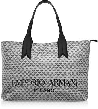Emporio Armani Ice and Black Eagle Print Tote Bag
