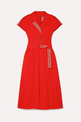 Lela Rose Grosgrain-trimmed Cotton-blend Poplin Midi Dress - Red