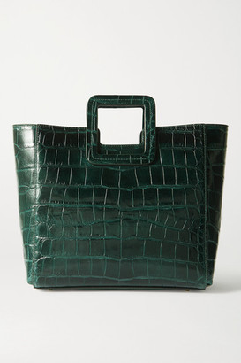 STAUD Shirley Croc-effect Leather Tote - Dark green