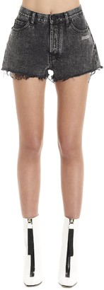 Off-White Logo Printed Denim Shorts