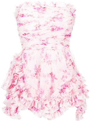 Philosophy di Lorenzo Serafini Floral-Print Strapless Mini Dress