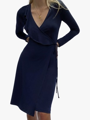 French Connection Leticia Jersey Wrap Dress, Utility Blue
