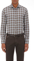 Luciano Barbera Men's Plaid Cotton Shirt-GREY