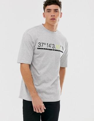 ONLY & SONS oversized t-shirt in grey melange-Green