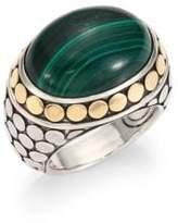John Hardy Batu Dot Malachite, 18K Yellow Gold & Sterling Silver Dome Ring