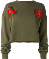 Each X Other rose embroidered cropped sweatshirt - women - Cotton - S