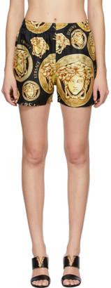 Versace Black and Yellow Silk Medusa Amplified Pyjama Shorts