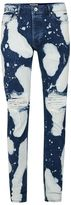Topman Indigo Bleach Splat Ripped Stretch Skinny Jeans