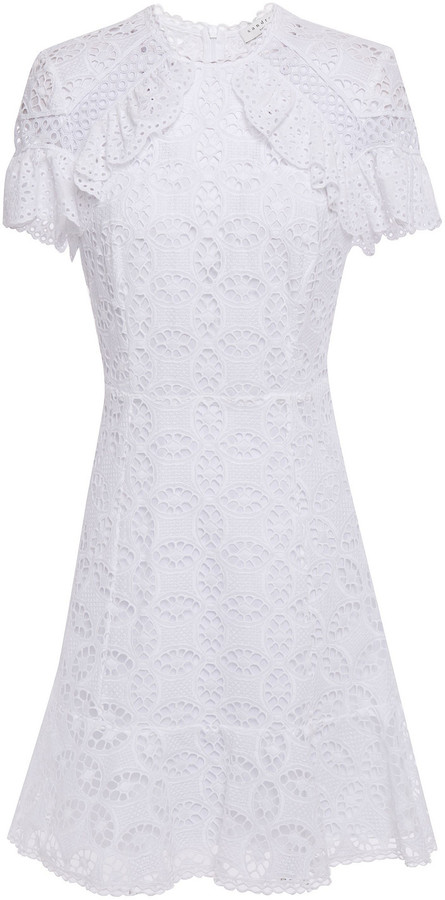Sandro Corentin Broderie Anglaise-trimmed Guipure Lace Cotton Mini Dress