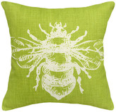 Bumble Bee 123 Creations Printed Linen Pillow w/ Feather-Down Insert, Chartreuse Gre