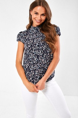 Iclothing Reece Frill Neck Top in Navy