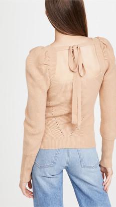 WAYF Leland Tie Back Puff Sleeve Sweater