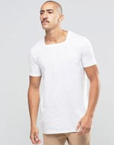 Asos Longline T-Shirt With Square Neck In White