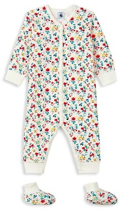 Petit Bateau Baby Girl's 2-Piece Floral Coverall & Shoes Set