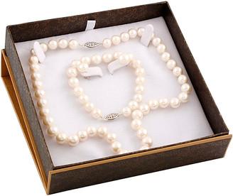 Splendid Pearls Silver 8-9Mm Freshwater Pearl Bracelet, Necklace, & Earrings Set
