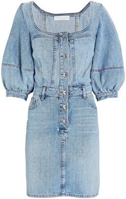 Jonathan Simkhai Standard Poppy Puff Sleeve Denim Mini Dress