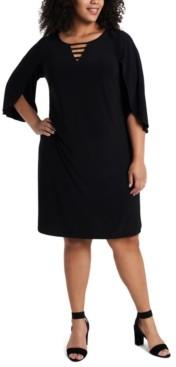 MSK Plus Size Split-Sleeve Shift Dress