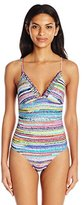 Anne Cole Women's Braided Stripe V-Neck Cross Back One Piece Swimsuit