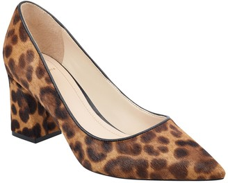 Marc Fisher Zalaly Genuine Calf Hair Chunky Heel Pump - Wide Width Available