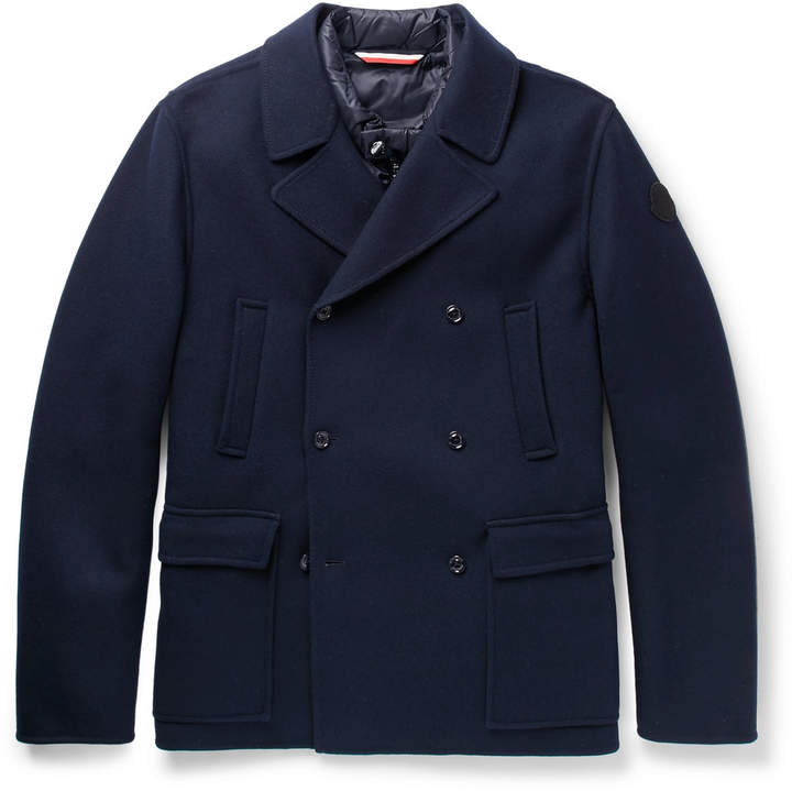 Moncler Wool and Cashmere-Blend Peacoat with Detachable Shell Gilet