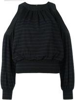 Sacai cold shoulder striped jumper - women - Cotton/Cashmere - 2
