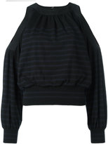 Sacai cold shoulder striped jumper - women - Cotton/Cashmere - 3