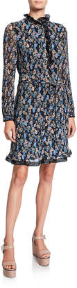 Tory Burch Deneuve Floral Ruffle-Neck Long-Sleeve Plisse Dress