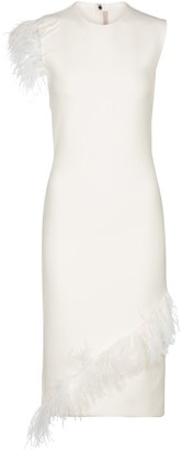Christopher Kane Feather-trimmed wool-blend dress