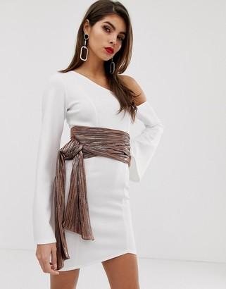 Asos Design DESIGN off shoulder metallic belt scuba mini dress-White