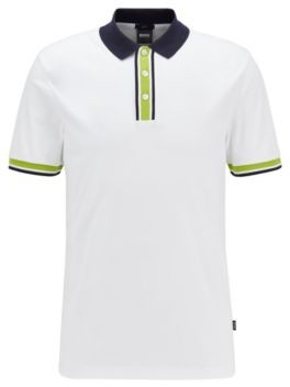 HUGO BOSS Slim Fit Polo Shirt In Cotton With Block Stripes - White