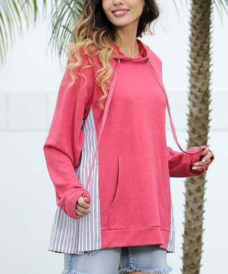 Z Avenue Women's Sweatshirts and Hoodies Red - Red Stripe-Inset Kangaroo-Pocket Hoodie - Women & Plus