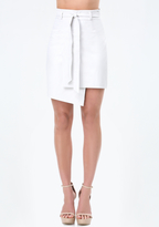 Bebe Faux Leather Wrap Skirt