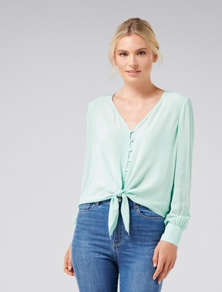 Forever New Clover V-Neck Button-Front Top - Ice Green - 10