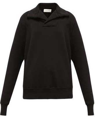 LES TIEN Yacht Open-collar Cotton Sweatshirt - Black